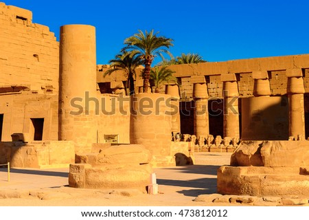 Karnak temple, Luxor, Egypt (Ancient Thebes with its Necropolis), the main place of worship of the eighteenth dynasty Theban Triad with the god Amun as its head.