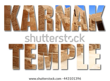 Karnak text with photo karnak temple on white background.
