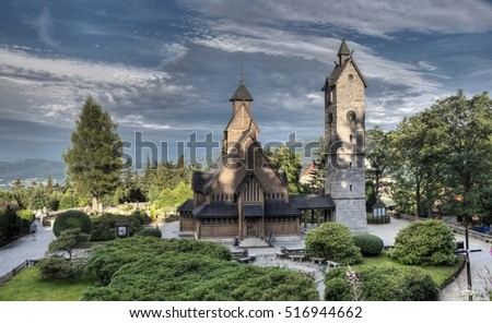 KARPACZ, POLAND-JUNI 27,2015: Historic wooden temple Wang in Karpacz in Poland. The church is originally built around 1200 in the parish of Vang in the Valdres region of Norway.