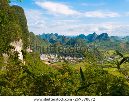 Karst mountain landscape near Yangshuo, Guilin, China - stock photo