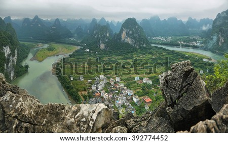 Karst mountains around Li river from Xiangong hill, Guangxi province, China - stock photo