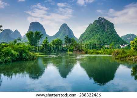 Karst Mountains Landscape of Guilin, China. - stock photo