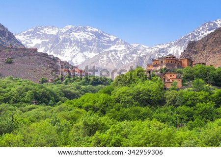 Kasbah du Toubkal,  Imlil in the Atlas Mountains (Morocco) - stock photo
