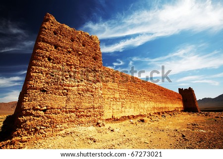Kasbah in Middle Atlas Mountains, Morocco, Africa - stock photo