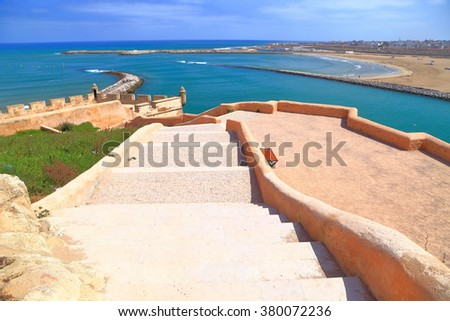 Kasbah of the Udayas walls above the Bou Regreg river and Atlantic ocean, Rabat, Morocco - stock photo