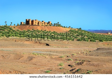Kasbahs along The Road of a Thousand Kasbashs in Morocco - stock photo