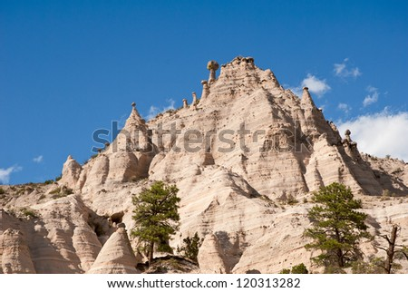 Kasha-Katuwe, Tent Rocks National Monument.  Located in north central New Mexico, USA. The tent shaped formations were created by the erosion of volcanic tuff. - stock photo