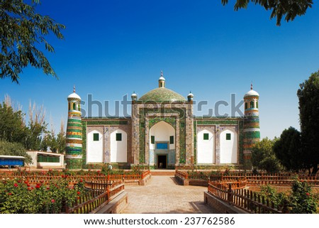 KASHGAR, CHINA - JUL 11: A private family tomb built in the form of a mosque in the ancient city of Kashgar, Xinjiang province Western China, on Jul 11, 2014 in Kashgar, China - stock photo
