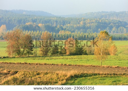 Kashubia district in north Poland.Autumn time/Autumn landscape