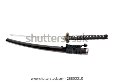Katana - Japanese sword isolated over white background - stock photo