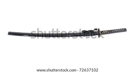 Katana - Japanese sword isolated over white background - stock photo