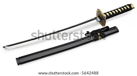Katana Sword - isolated on white - stock photo