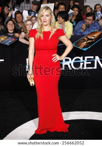 "Kate Winslet at the Los Angeles premiere of ""Divergent"" held at the Regency Bruin Theatre in Westwood on March 18, 2014 in Los Angeles, California."