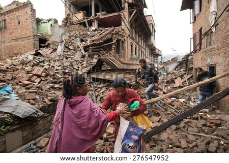 KATHMANDU, NEPAL - APRIL 29, 2015: Sankhu village which was severly damaged after the major earthquake on 25 April 2015. - stock photo