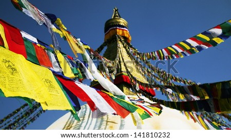 KATHMANDU, NEPAL -MAY 6: Boudhanath temple in Kathmandu on 6 may 2013. it is one of Buddhist sites in Kathmandu. As of 1979, Boudhanath is a UNESCO World Heritage and one of the popular tourist sites