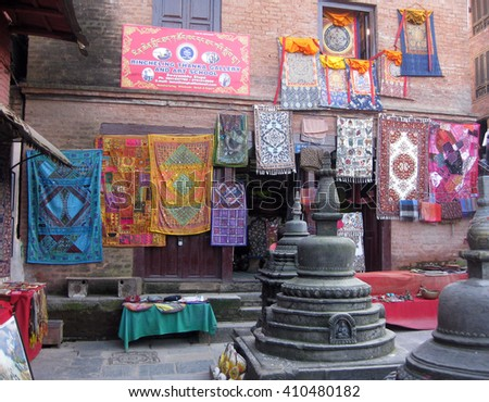 Kathmandu, Nepal - October 2011: Shop for souvenirs and handicrafts near the Swayambhunath Stupa.