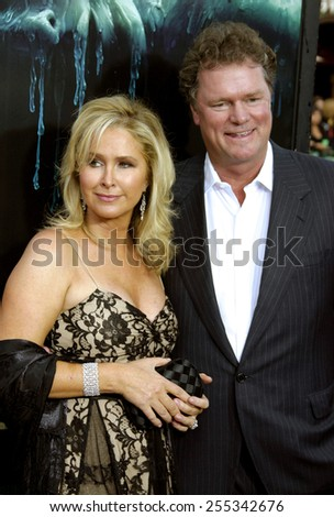 """Kathy Hilton and Rick Hilton attend the Los Angeles Premiere of """"House of Wax"""" held at the Mann Village Theatre in Westwood, California, United States on April 26, 2005.. - stock photo"""
