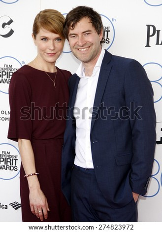 Katie Aselton and Mark Duplass at the 2015 Film Independent Spirit Awards held at the Santa Monica Beach in Santa Monica on February 21, 2015.  - stock photo