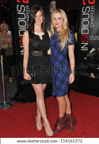 """Katie Featherston (left) & Kathryn Newton at the world premiere of """"Insidious Chapter 2"""" at Universal Citywalk, Hollywood. September 10, 2013  Los Angeles, CA - stock photo"""