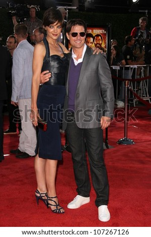 Katie Holmes and Tom Cruise  at the Los Angeles Premiere of 'Tropic Thunder'. Mann's Village Theater, Westwood, CA. 08-11-08
