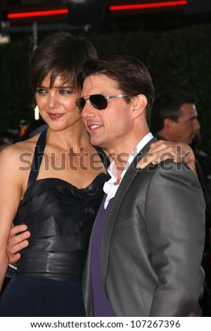 Katie Holmes and Tom Cruise  at the Los Angeles Premiere of 'Tropic Thunder'. Mann's Village Theater, Westwood, CA. 08-11-08 - stock photo