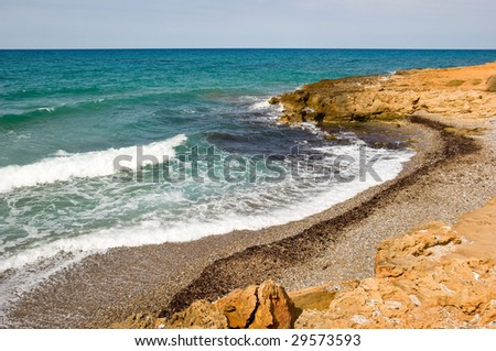 Kato Gouves (or Kato Gournes) beach, Crete, Greece - stock photo