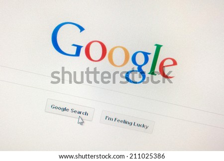 Katowice, Poland - August 14, 2014: Google.com homepage. Google is one of the most popular search engines. - stock photo