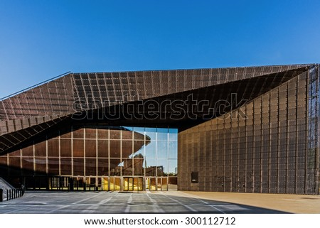 KATOWICE, POLAND   JULY 26, 2015: The International Conference Centre, newly launched modern complex, officially opened during inaugural event, European Economic Congress, held on 20-22 April, 2015. - stock photo
