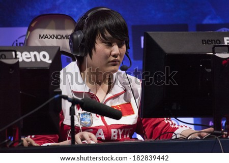 "KATOWICE, POLAND - MARCH 16: Teng-Yang ""Ruo"" Tian-Xia from World Elite at Intel Extreme Masters 2014 (IEM) - Electronic Sports World Cup on March 16, 2014 in Katowice, Silesia, Poland. - stock photo"