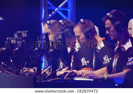 KATOWICE, POLAND - MARCH 16: Virtus.Pro at Intel Extreme Masters 2014 (IEM) - Electronic Sports World Cup on March 16, 2014 in Katowice, Silesia, Poland. - stock photo