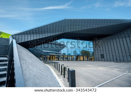 KATOWICE, POLAND - Oct 5, 2015: The International Conference Centre, newly launched modern complex on 20-22 April, 2015.