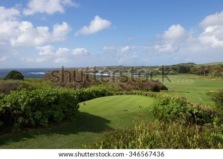 Kauai golfing - stock photo