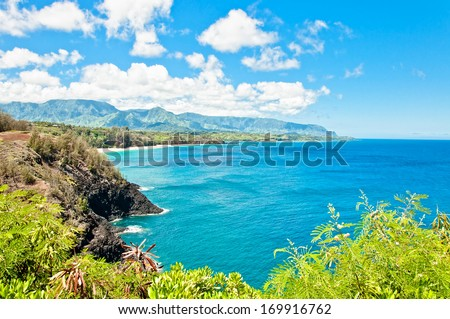 Kauai north shore in a sunny day, Hawaii Islands - stock photo
