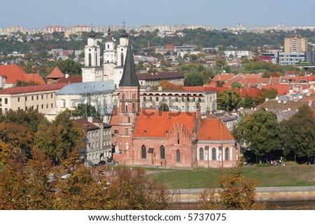 Kaunas city view in the autumn - stock photo