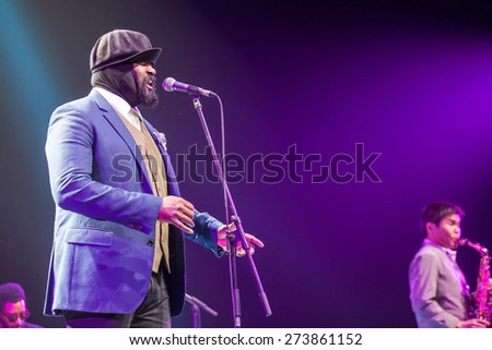 "KAUNAS, LITHUANIA - APRIL 26, 2015: Grammy winner jazz singer Gregory Porter performs at the stage of ""Kaunas Jazz"" festival.  - stock photo"