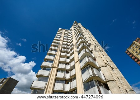 KAUNAS, LITHUANIA - JUNE 26, 2016: 16 floor high rise buildings at Cecenijos square, Kalnieciai neighbourhood