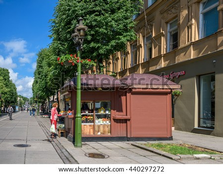 KAUNAS, LITHUANIA - JUNE, 17, 2016: Street market in Kaunas old town. Kaunas is the second-largest city in Lithuania.