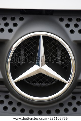 KAUNAS-MAR 23: Mercedes Benz Sign Close-Up on Mar. 23, 2015 in Kaunas, Lithuania. Mercedes-Benz is a German automobile manufacturer. The brand is used for luxury automobiles, buses, coaches and trucks - stock photo