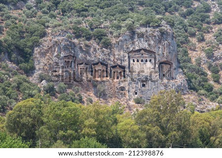 Kaunian rock tombs in Dalyan, Ortaca, Turkey
