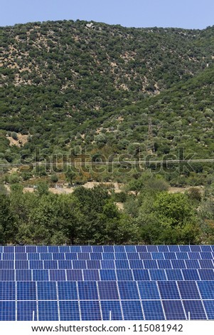 KAVALA,GREECE - AUG,20: Photovoltaic panels solar field on August 20, 2012 in Kavala, Greece. - stock photo