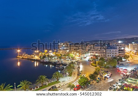 Kavala port city in Greece by dusk