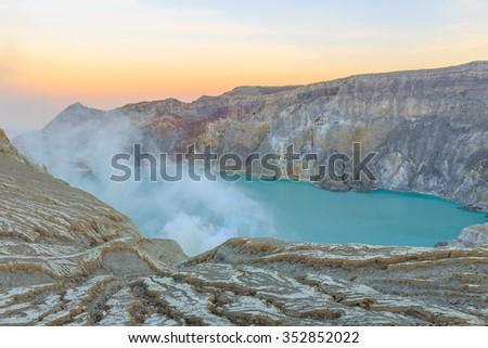 Kawah Ijen Volcano, East Java island, Indonesia - stock photo