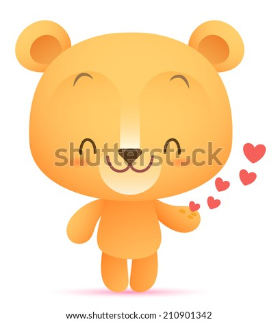 Kawaii Bear giving heart - stock photo
