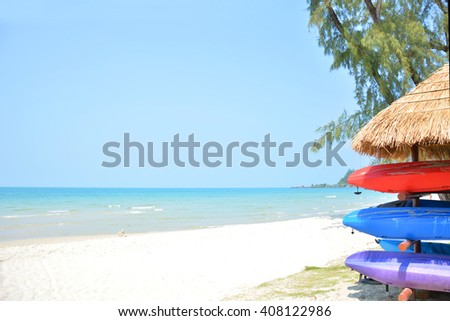 kayak in beautiful beach in Thailand - stock photo