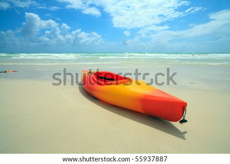 Kayak on Miami's South Beach - stock photo