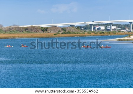 Kayak paddlers in St.Augustine, Florida - stock photo