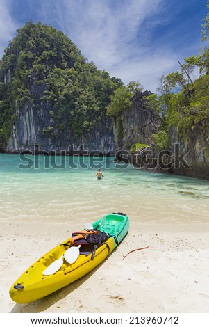 Kayak & snorkel in Thailan Island - stock photo