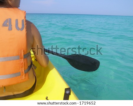 Kayaker on open water in the Gulf of Mexico. - stock photo