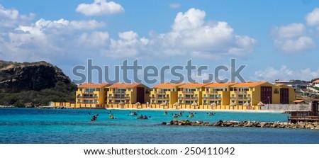Kayakers at Caracasbaai - Curacao a tropical island in the Caribbean Ocean - stock photo