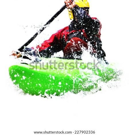 Kayaking concept on white - stock photo
